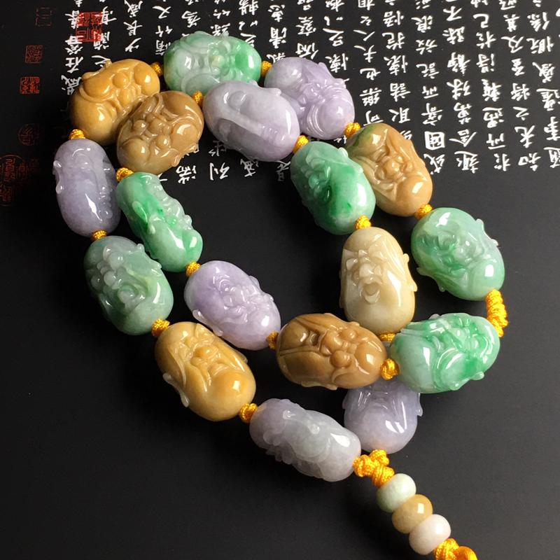 糯种三彩【十八罗汉】手串 质地细腻 雕工精湛 色彩艳丽