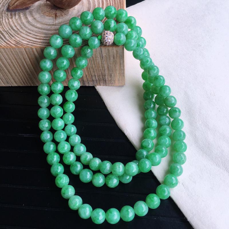 天然缅甸老坑翡翠A货 绿色圆珠子手链,料子细腻柔洁,尺寸珠子取一7.5mm,总数112颗,重量80.