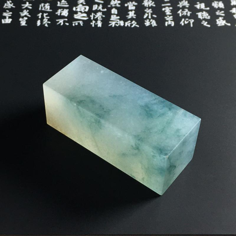 冰种飘花印章 尺寸48-19-19毫米 种好冰透 清爽细腻 飘花灵动