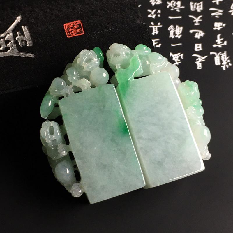 糯种带色【招财貔貅】一对 质地细腻 雕工精湛 翠色艳丽