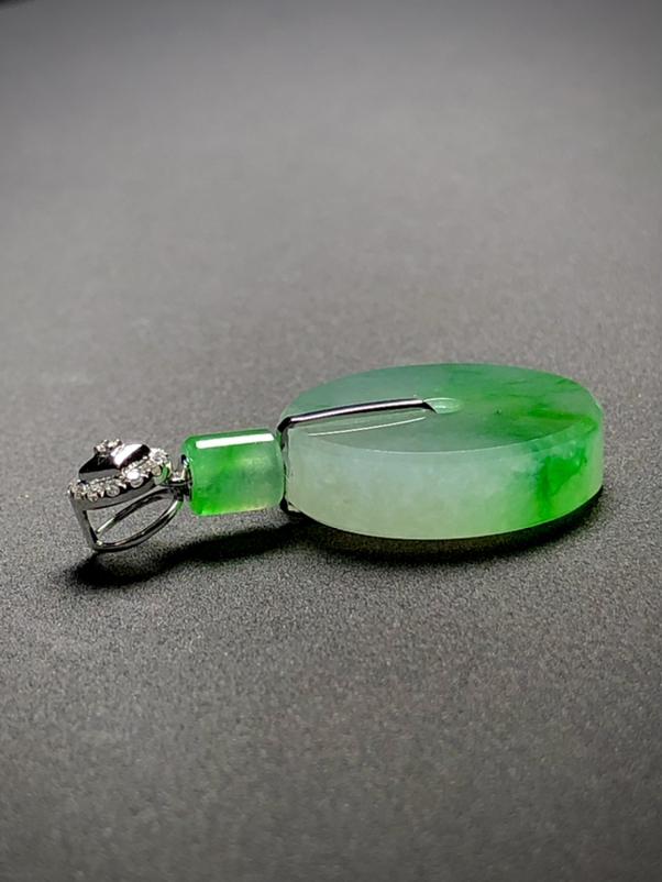 绿花平钱扣平安扣子, 整体34-20.2-5.5mm, 6.95g, 18K金伴天然钻石镶嵌,