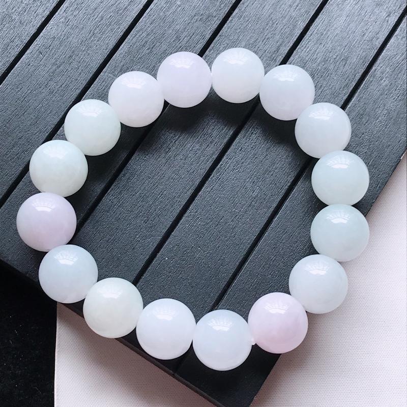 水润精美圆珠翡翠手链  玉质细腻  冰清玉润 玲珑剔透  尺寸直径14.2