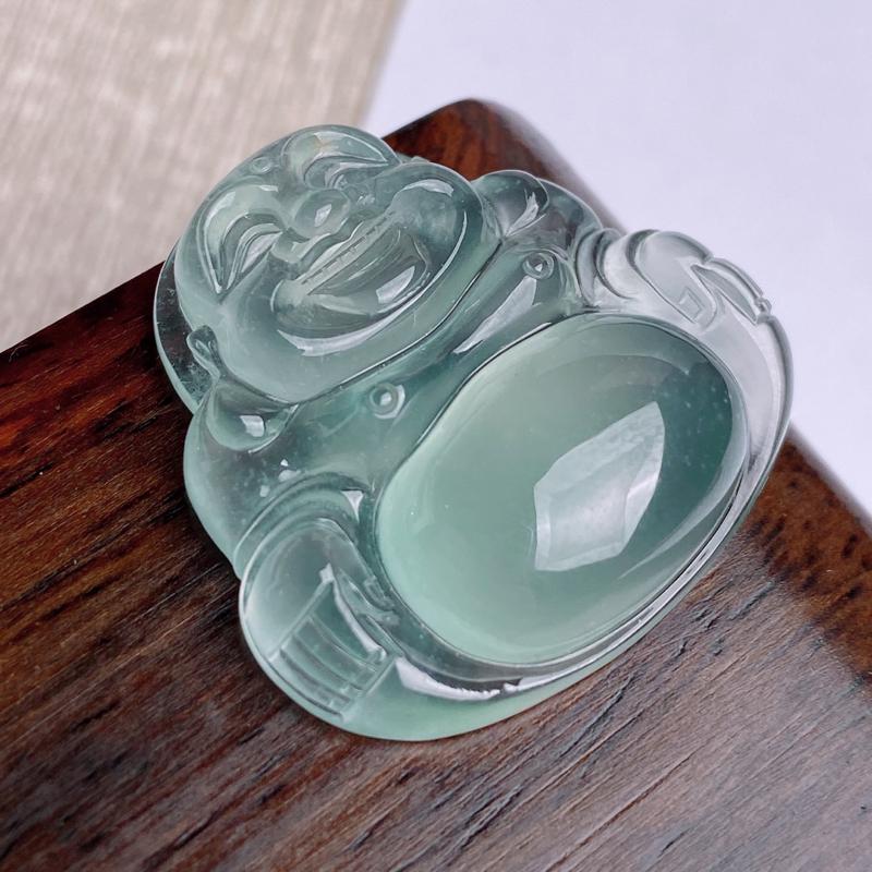 A货翡翠-种好冰种佛公吊坠,尺寸-27.1*28.5*8.1mm