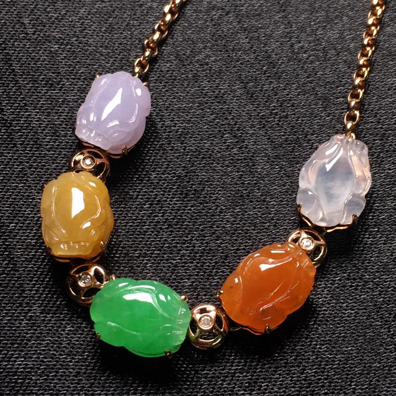 多彩貔貅翡翠手链,色泽鲜艳,种老水润,饱满圆润,性价比高,裸石尺寸:10-7.8-3.5