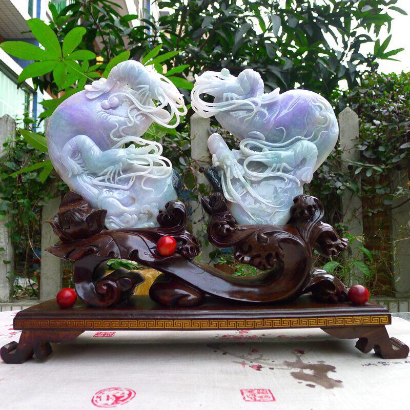 翡翠老坑紫罗兰 龙虾精品摆件  裸石尺寸190*150*20/180*160*33mm 连底座尺寸3