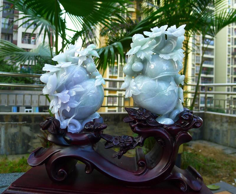 精美春带彩 葫芦福瓜 摆件 缅甸天然翡翠A货 春带彩 多子多福 花开富贵 喜上眉梢 葫芦摆件 雕刻精