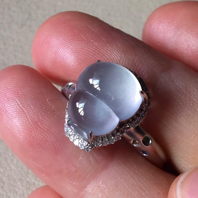 冰种葫芦戒指,饱满水润,无裂,裸石尺寸11.5/9.5/5--13.5/11.2/9.8