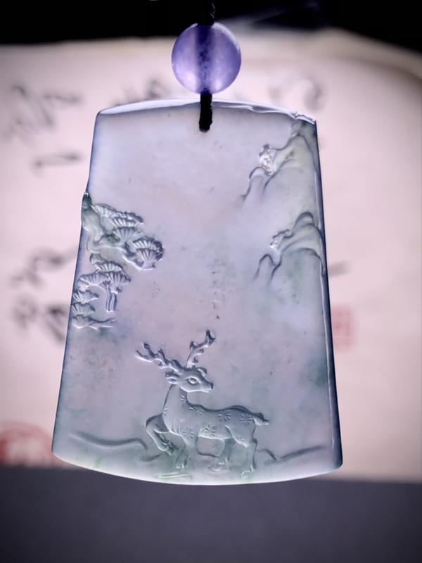 【福禄常春】, 瑞禧玉雕作品, 38-29.2-4.8mm, 12.1g, 种老水头好,顶珠为装饰品
