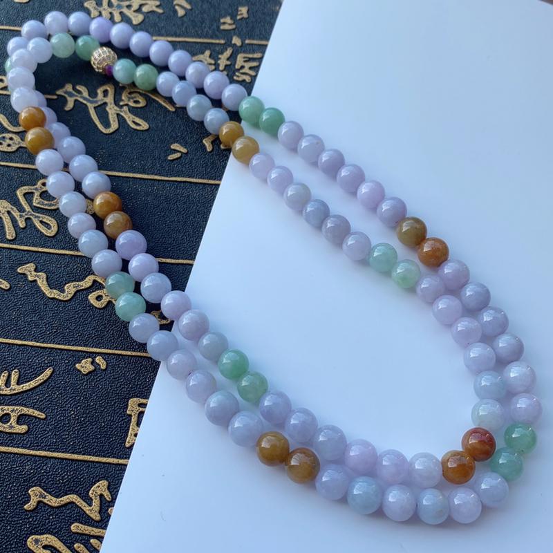 🙏缅甸天然翡翠A货   三彩圆珠项链,尺寸:7.6,寓意峰回路转,圆圆满满,财富越聚越多,福气越大,