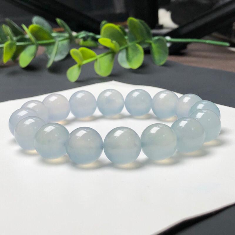 冰种翡翠珠链手串,直径11.8毫米,质地细腻,冰透水润,A002GEN