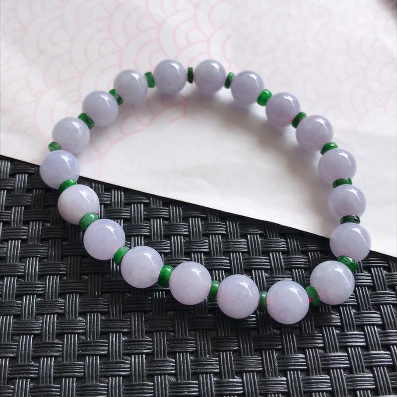 天然翡翠a货紫罗兰手链中间绿色装饰品尺寸8.2mm编号111