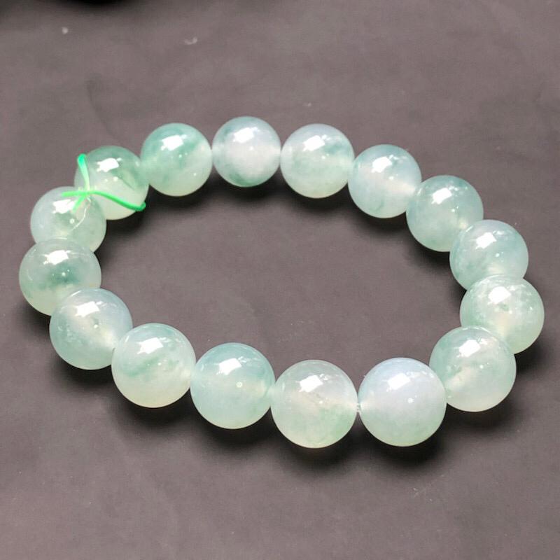 冰种翡翠珠链手串,直径13.2毫米,质地细腻,冰透水润,A031DO