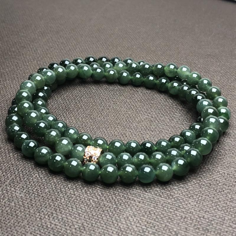糯化种油青翡翠珠链项链,108颗,直径6.9毫米,质地细腻,水润光泽,A328CEM