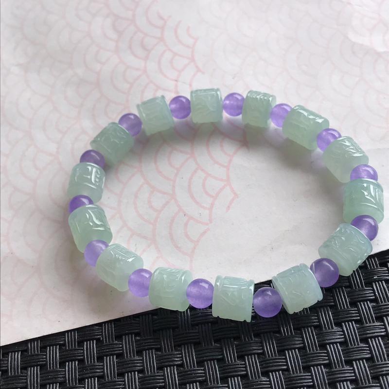 天然翡翠a货种水好福气手链种水好中间隔珠是装饰品
