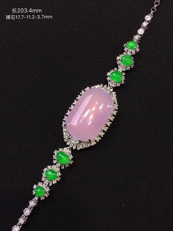 高端精品老坑冰种粉紫手链,精美粉紫韵味十足,镶嵌搭配冰阳绿蛋面裸石更是景上添花,18k金钻豪华镶嵌而