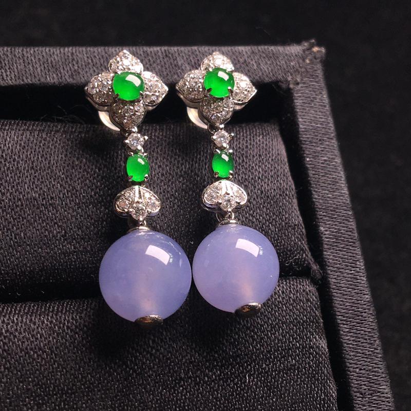 18k金伴钻镶嵌冰紫珠珠耳坠,优雅高贵,细腻饱满,种水足,种好冰透,水色甜美,珠圆玉润,裸石:9,整