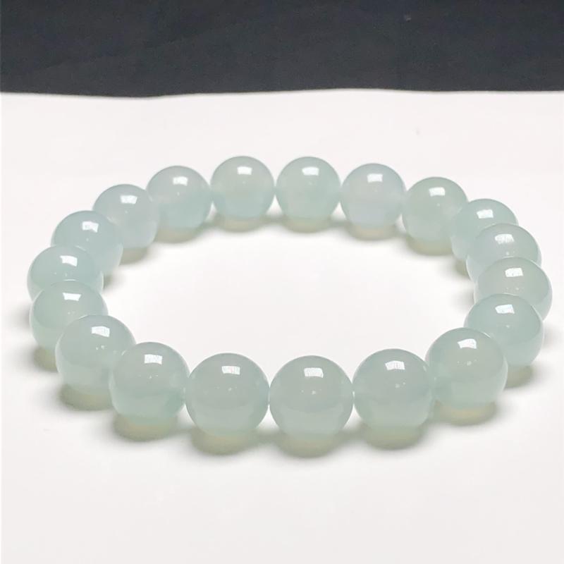 糯种翡翠珠链手串,直径9.8毫米,质地细腻,水润光泽,A142CN