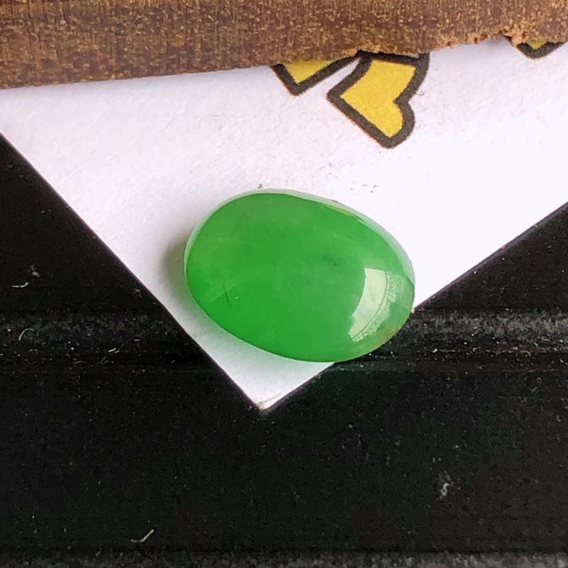 天然a货翡翠冰种阳绿蛋面裸石(镶嵌件)戒面,玉质细腻,水润,