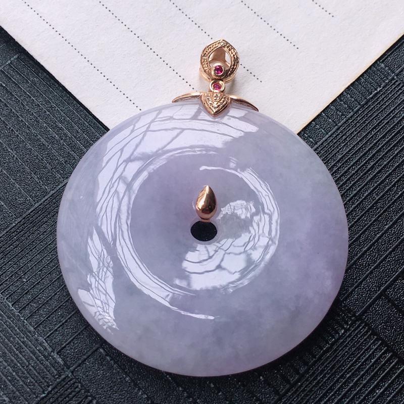 18K金伴钻镶嵌翡翠紫罗兰平安扣吊坠,种水好玉质细腻温润,颜色漂亮。裸石尺寸:38.3*5.9mm