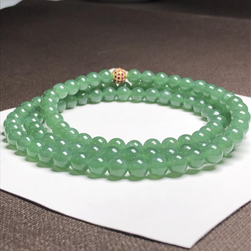 糯化种油青翡翠珠链项链,108颗,直径7.6毫米,质地细腻,水润光泽,隔珠是装饰品,A057GN 下