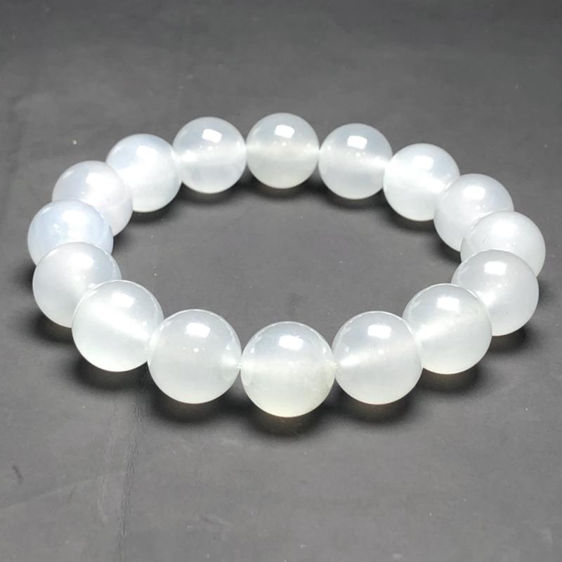 冰糯种白冰翡翠珠链手串,直径13.2毫米,质地细腻,冰透水润,A031BO