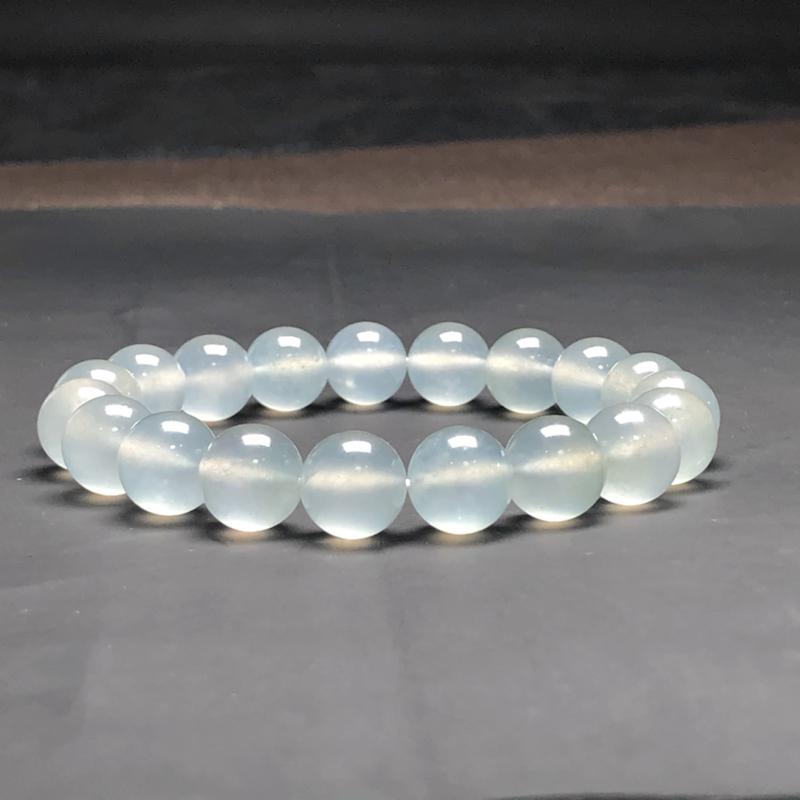冰种翡翠珠链手串,直径10.3毫米,质地细腻,冰透水润,A139CHO