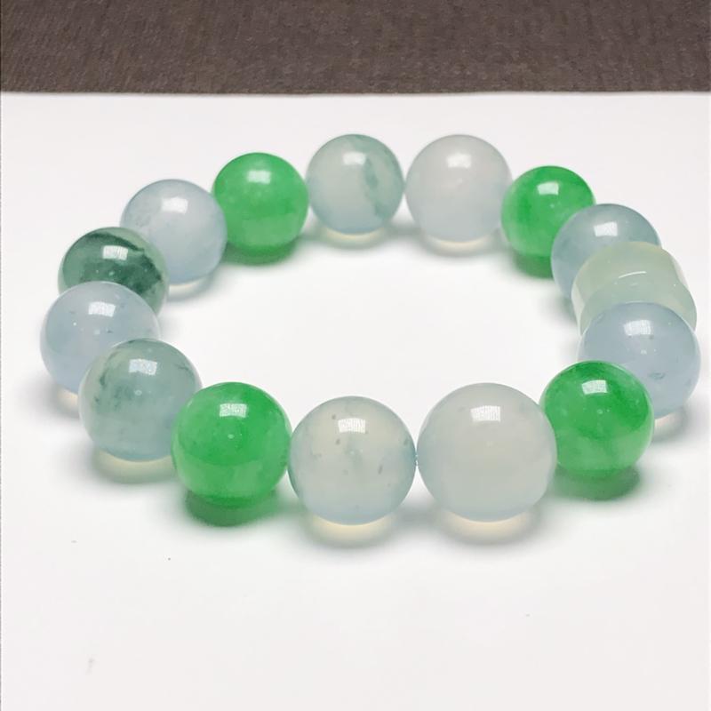 冰种多彩翡翠珠链手串,直径9.0*12.5*11.5*13.3毫米,质地细腻,冰透水润,A139AH