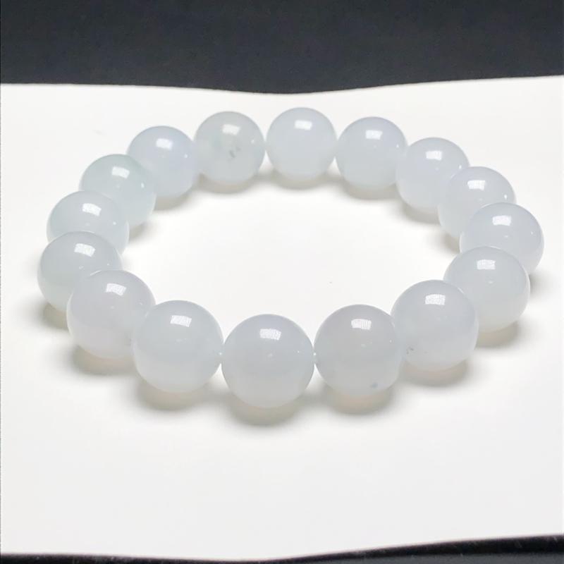 糯种翡翠珠链手串,直径13.3毫米,质地细腻,水润光泽,A086BCM 下单赠送价值398精美翡翠算