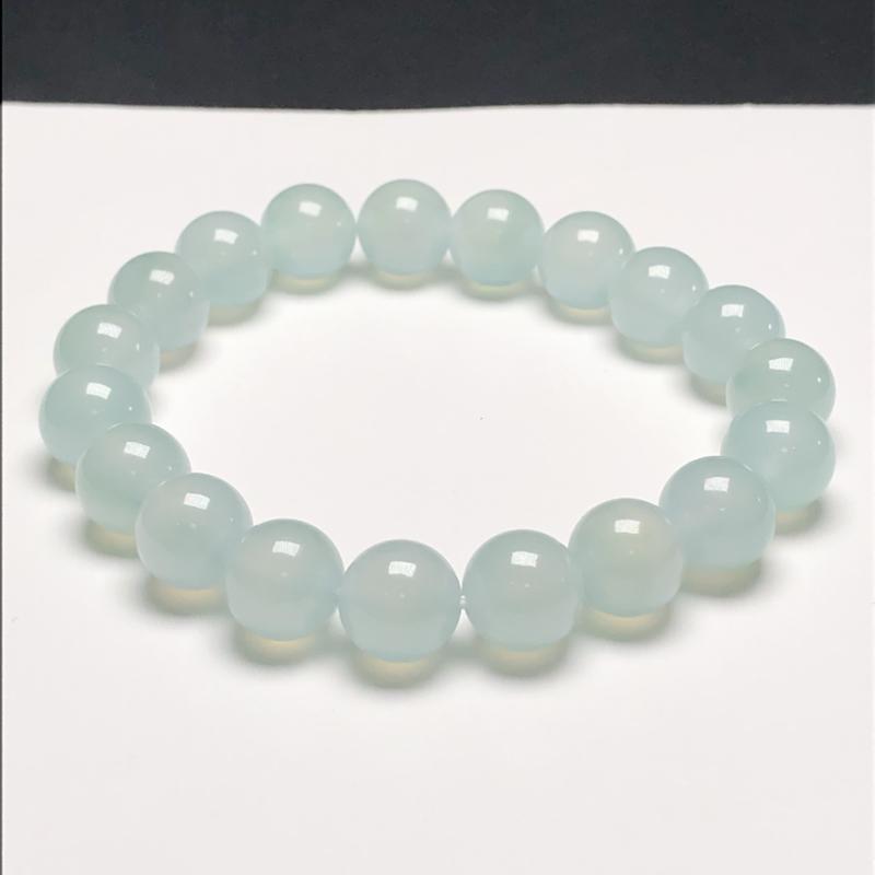 冰糯种淡天空蓝翡翠珠链手串,直径9.9毫米,质地细腻,冰透水润,A032HN ,下单赠送价值398精