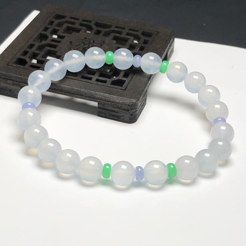 冰糯种白冰翡翠珠链手串,直径7.2毫米,质地细腻,水润光泽,A092EN