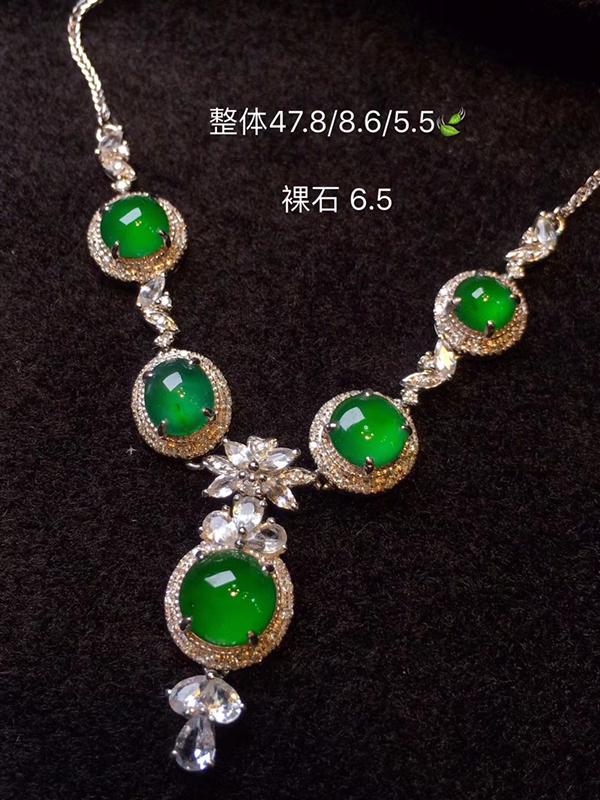 冰辣绿翡翠项链,种色兼备的套链 每一颗都是做戒指的品质,明艳 起光  上身优雅大气