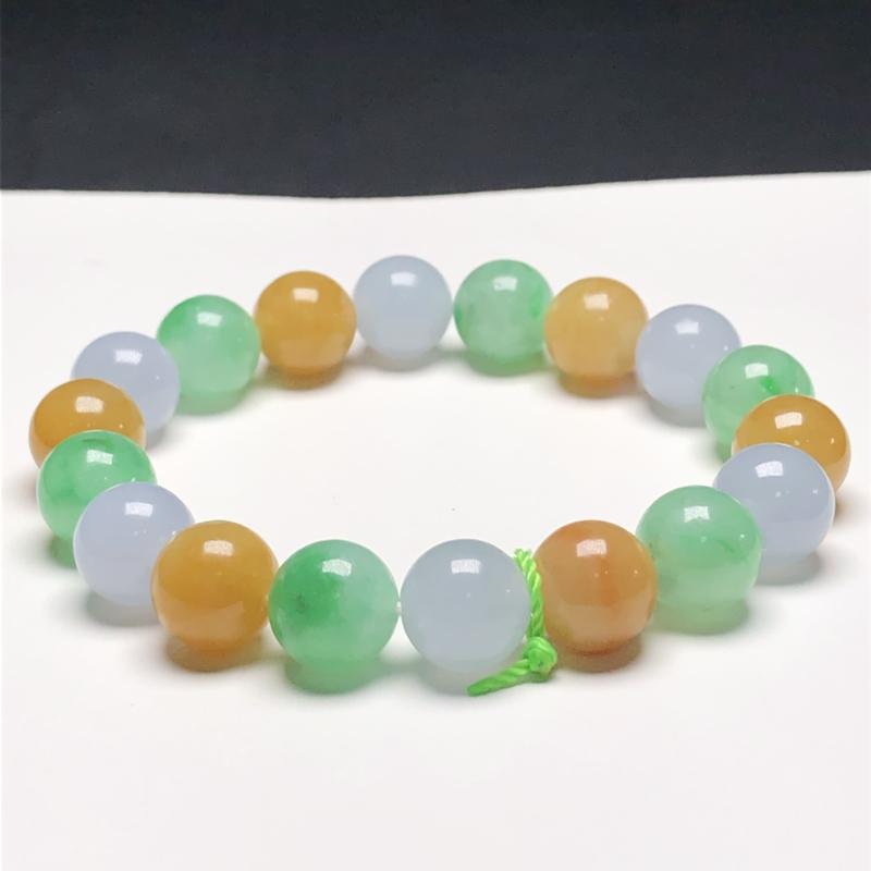 糯化种糖果色翡翠珠链手串,直径10.6毫米,质地细腻,色彩鲜艳,A193AO,下单赠送价值398精美