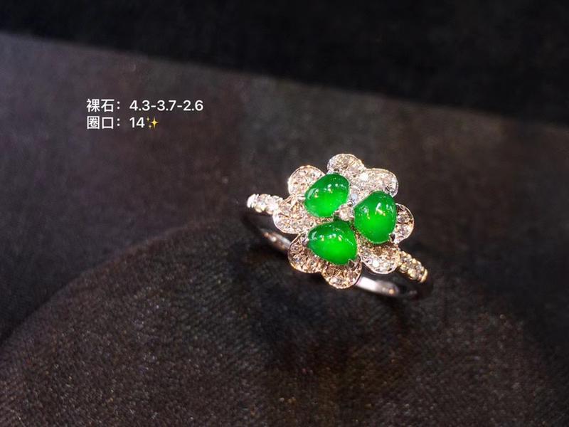 冰阳绿三叶草戒指  裸石玻璃种正阳小色标 满钻重金镶嵌 活力满满 小幸运