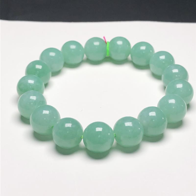 糯种全绿翡翠珠链手串,直径11.6毫米,质地细腻,水润光泽,A031DEM,下单赠送价值398精美翡