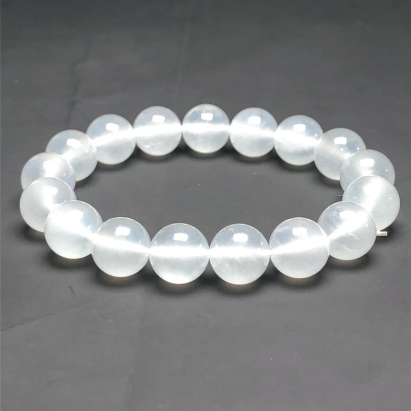 冰种白冰翡翠珠链手串,直径11.7毫米,质地细腻,冰透水润,A092BHN