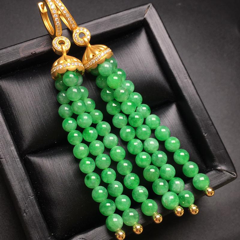 阳绿珠翡翠耳环,种老水润,色泽鲜艳,精美款,饱满圆润,性价比高,整体尺寸70.8-4.3
