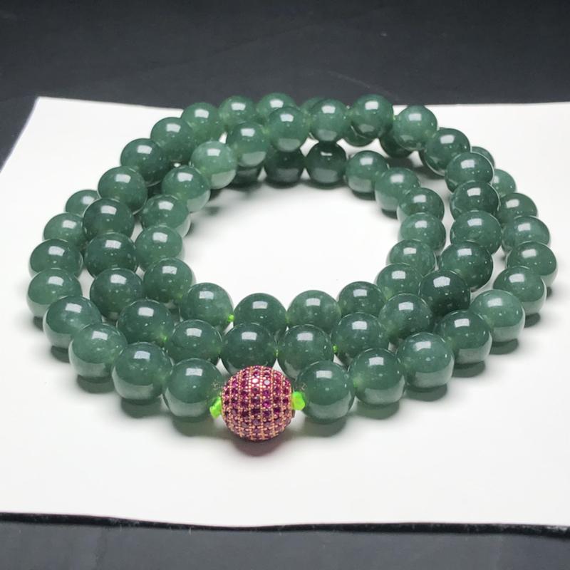 糯种油青翡翠珠链项链,70颗,直径9.9毫米,质地细腻,水润光泽,隔珠是装饰品,A020BN