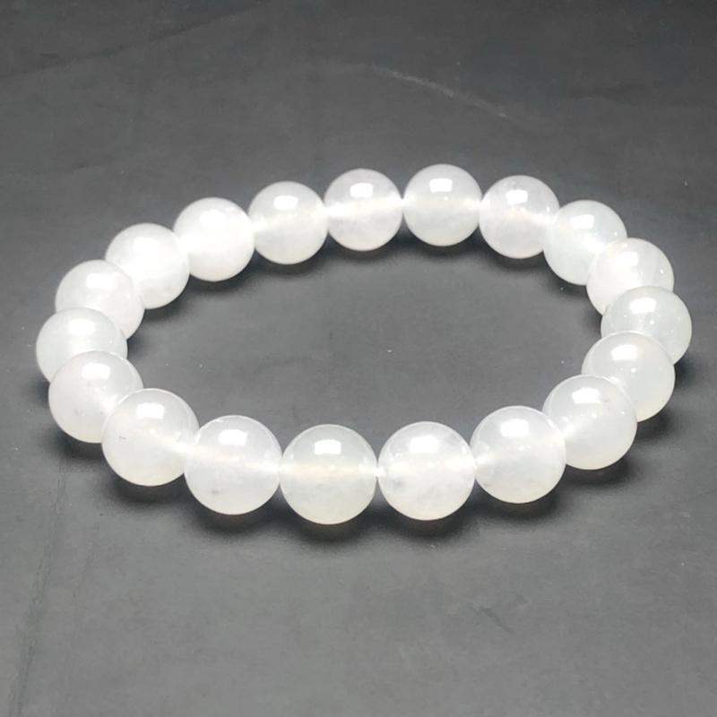 糯化种白冰翡翠珠链手串,直径9.9毫米,质地细腻,冰透水润,A020BBM