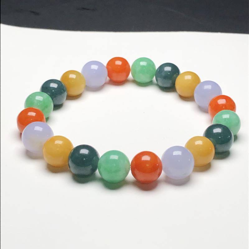 糯种多彩翡翠珠链手串,直径10.1毫米,质地细腻,色彩鲜艳,A020ACM