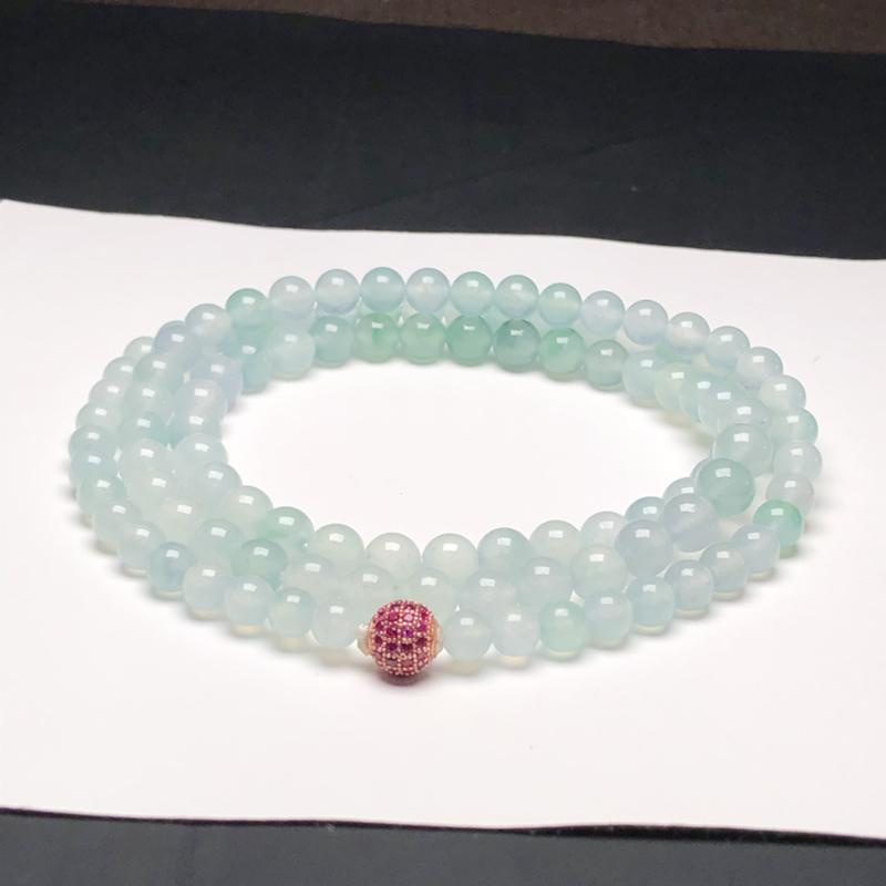 冰糯种飘花翡翠珠链项链,108颗,直径7.0毫米,质地细腻,冰透水润,隔珠是装饰品,A023GHM