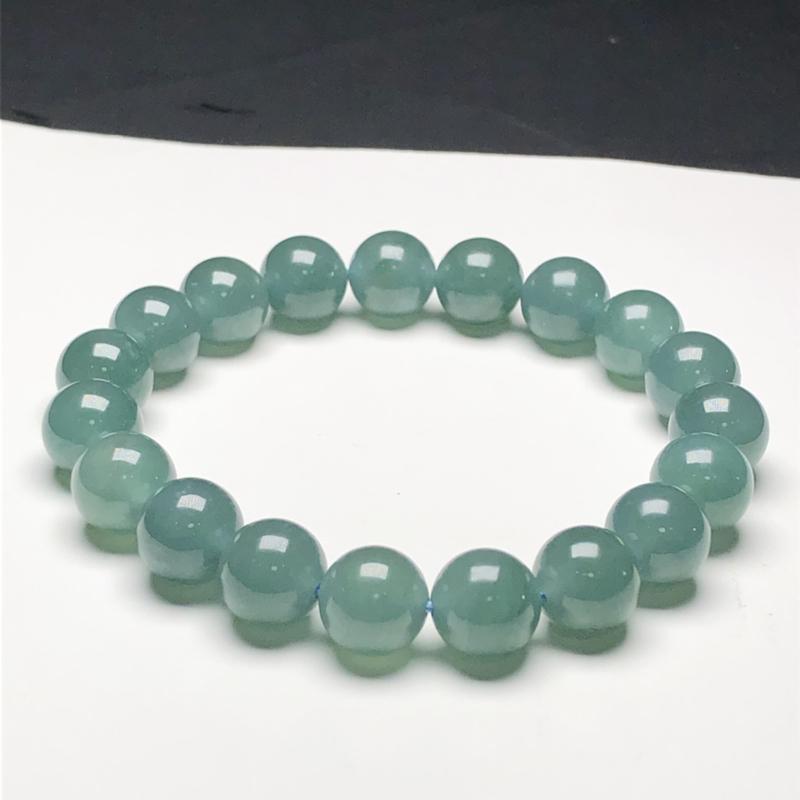 糯化种蓝水翡翠珠链手串,直径9.9毫米,质地细腻,水润光泽,A020CEM
