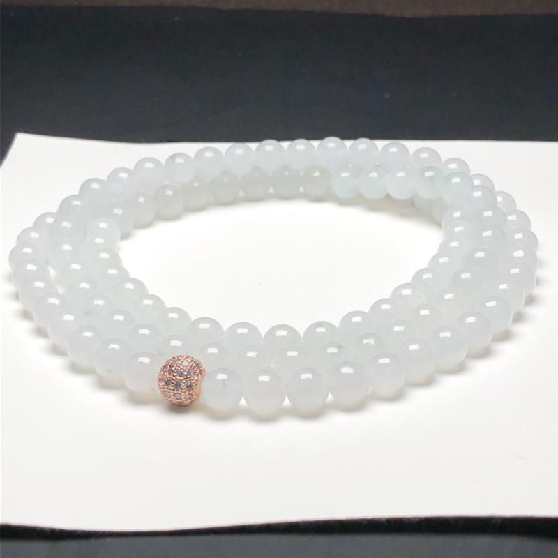 糯化种白冰翡翠珠链项链,108颗,直径7.3毫米,质地细腻,水润光泽,隔珠是装饰品,A126AHM