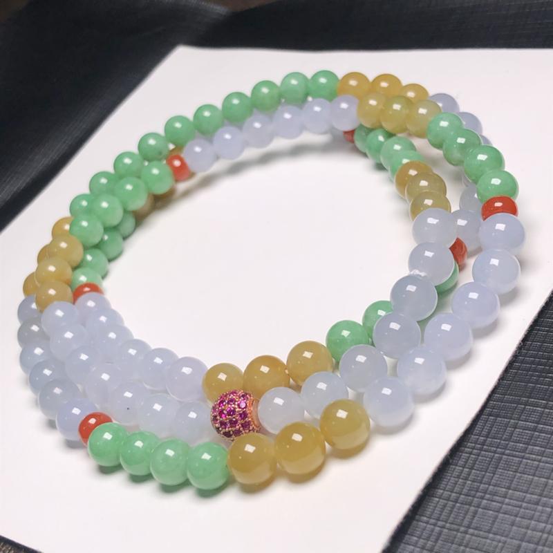 糯种多彩翡翠珠链项链,108颗,直径7.3毫米,质地细腻,色彩鲜艳,隔珠是装饰品,A068BBM