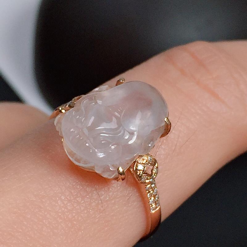 冰种貔貅翡翠戒指,种水好,起荧光,指圈:13#,尺寸:13-9.2-5.7