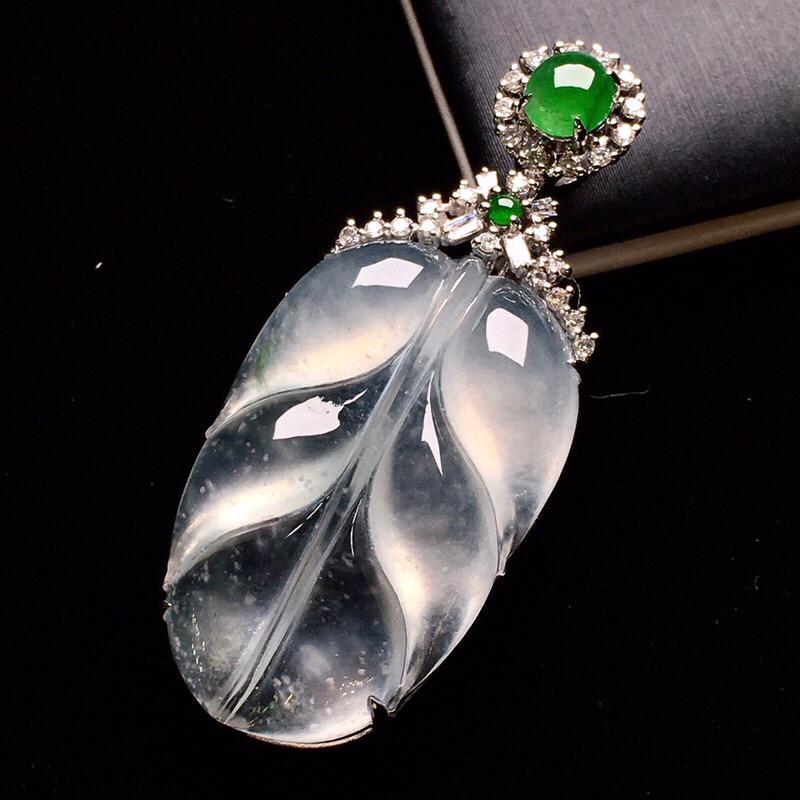18K金钻镶嵌冰种树叶吊坠 玉质细腻 水润饱满 搭配满绿小蛋面 宝石 款式高贵优雅时尚唯美 亮眼 整