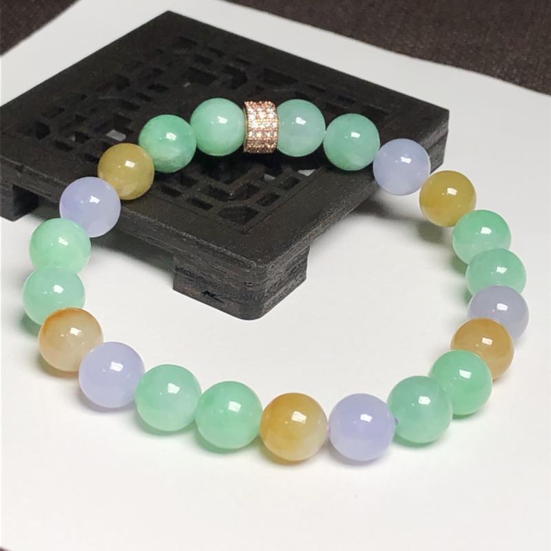 糯种多彩翡翠珠链手串,直径8.2毫米,质地细腻,色彩鲜艳,A238ABM
