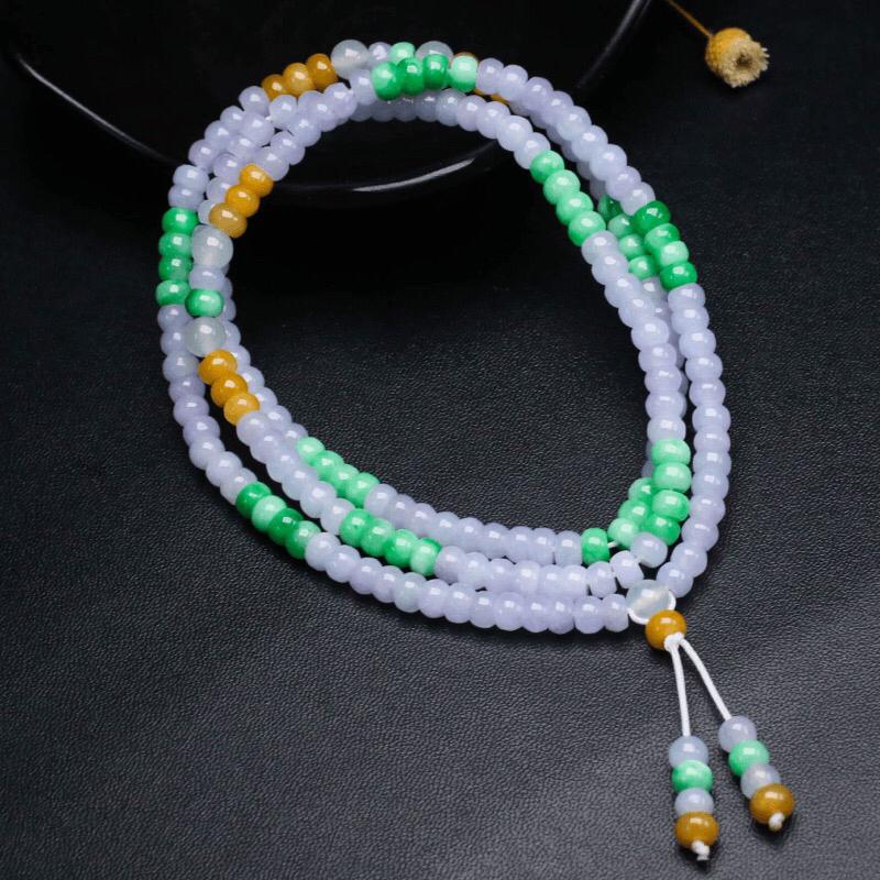 三彩翡翠珠链,共201颗珠子,取其中一颗珠尺寸大约5.5*3.8mm,实物漂亮,玉质莹润,清秀高雅