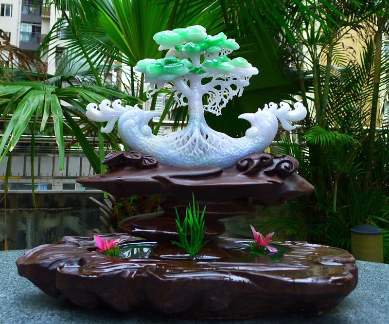 缅甸天然A货翡 精美 一路发财 一路相随 多子多福 发财树摆件 缕空雕刻精美线条流畅 搭配精美高档檀