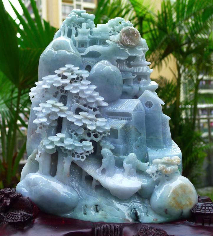 大件山水摆件 缅甸天然翡翠A货 三彩 高山流水 指日高升 山水摆件 雕刻精美线条流畅 种水好 层次分