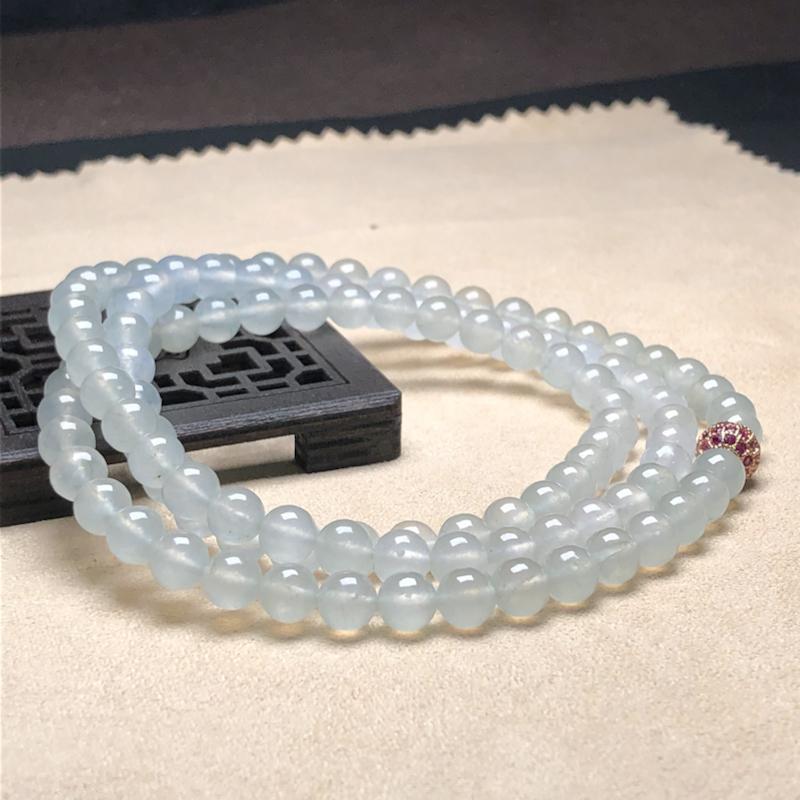 冰种白冰翡翠珠链项链,108颗,直径6.1毫米,质地细腻,冰透水润,隔珠是装饰品,A212EFM